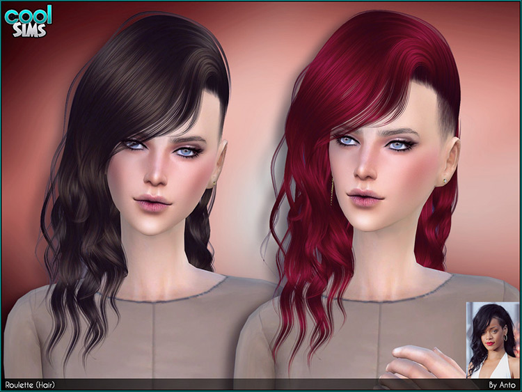 Roulette Hair CC - Bad Girl Mid-length hairdo Sims 4