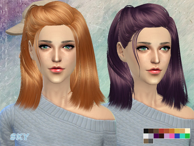 SKYSIMS Mid-length french twist hair - TS4 CC