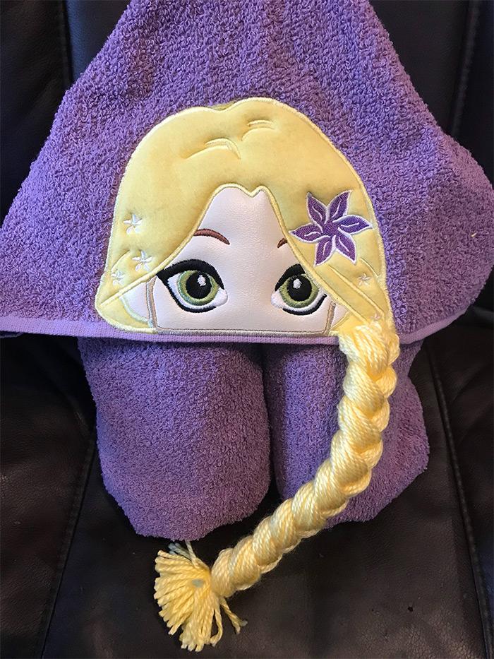 Tangled hooded towel set handmade