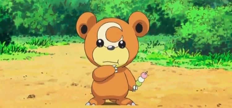 Cute Teddiursa eating a snack