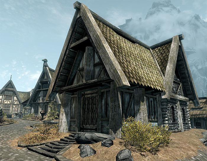 Breezehome exterior in Skyrim