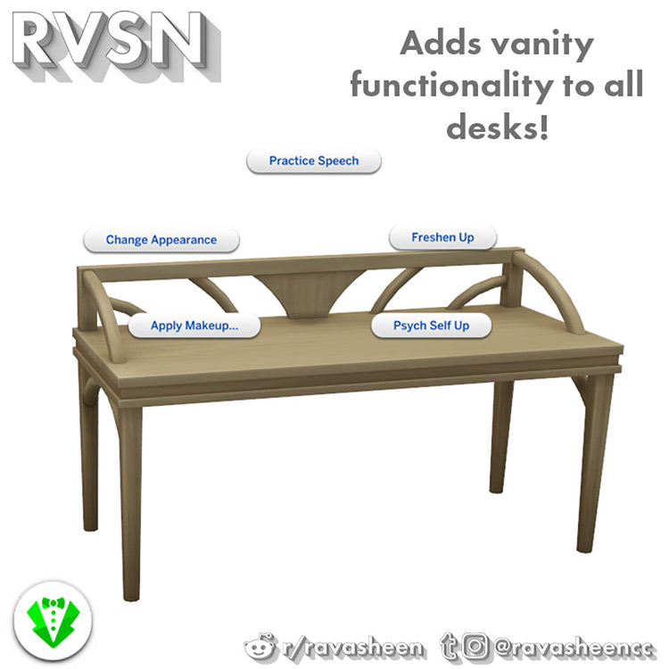 Add Vanity Function to All Desks Mod Sims 4 CC