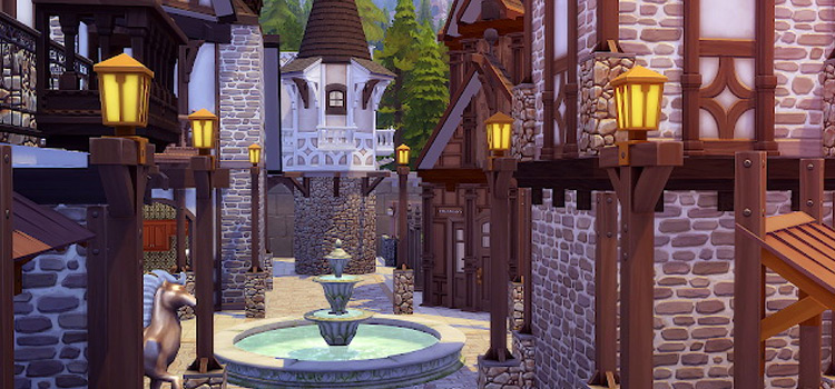 Medieval castle lot in The Sims 4