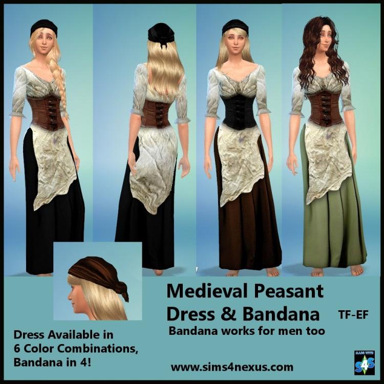 Medieval Peasant Dress & Bandana for Sims 4