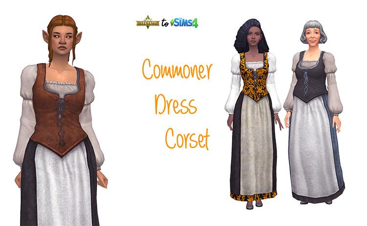 Commoner Dress Corset Sims 4 CC