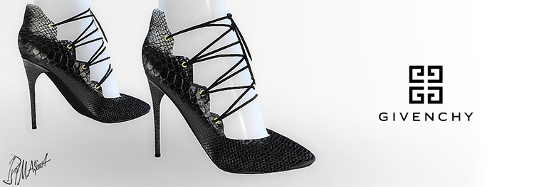 Givenchy Laced Pumps for Sims 4