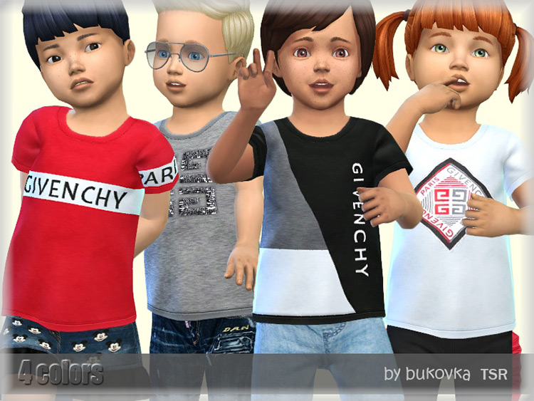 Toddler Givenchy Shirts for Sims 4