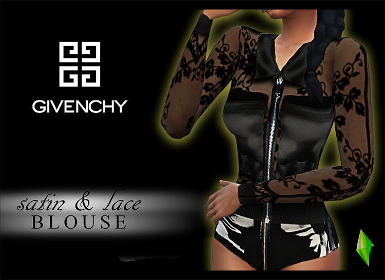 Givenchy Satin & Lace Blouse TS4 CC