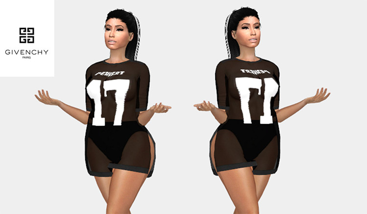 Givenchy Embellished Chiffon Top for Sims 4