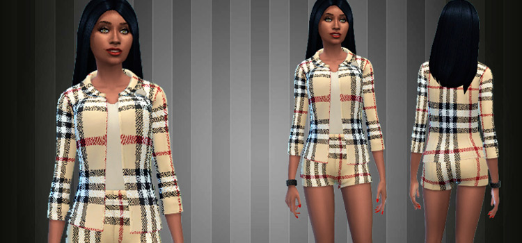Burberry jacket and shorts CC outfit / TS4