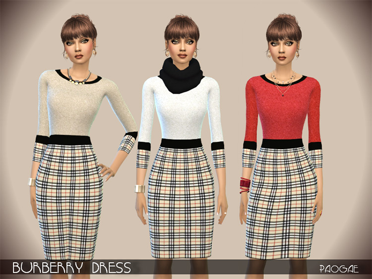Paogae's Burberry Dress Design / Sims 4 CC