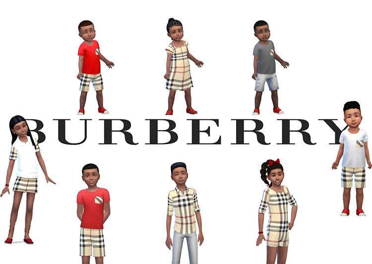 Kids Burberry CC Collection for The Sims 4