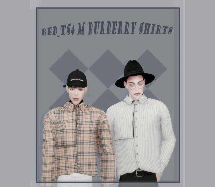 Male Burberry Shirts Pack / TS4 CC