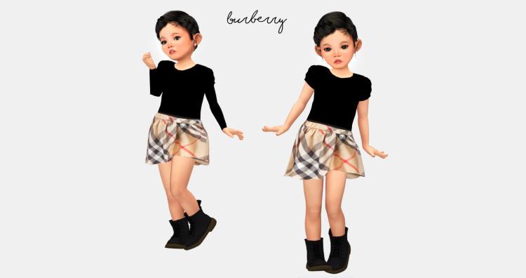 Designer Burberry Dress for Tots / TS4 CC