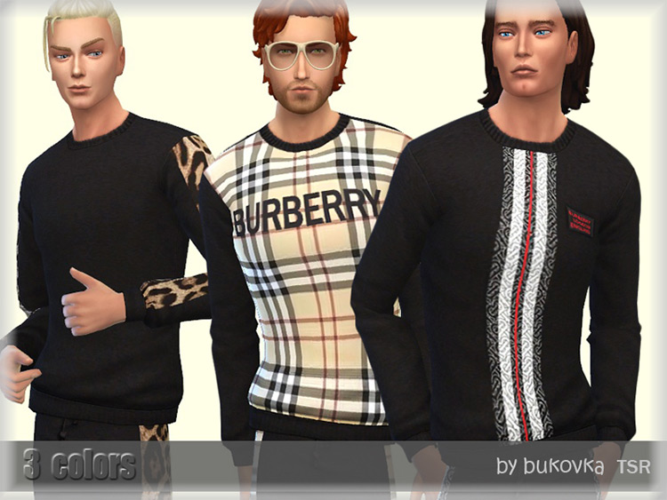 Male Burberry Sweater Set / Sims 4 CC