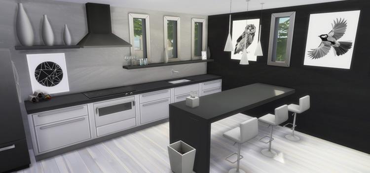 Sleek modern kitchen interior in The Sims 4