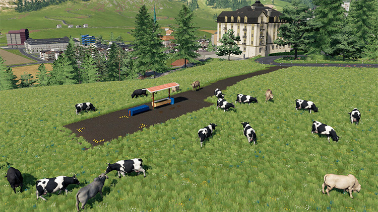 Large open cow pasture mod for FS19