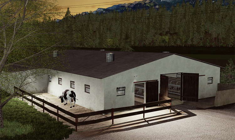 Cowshed 1980s-style Mod for FS19