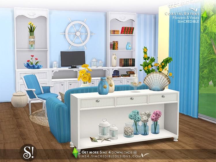 Coastal Extras - Flowers and Vases Set / TS4 CC