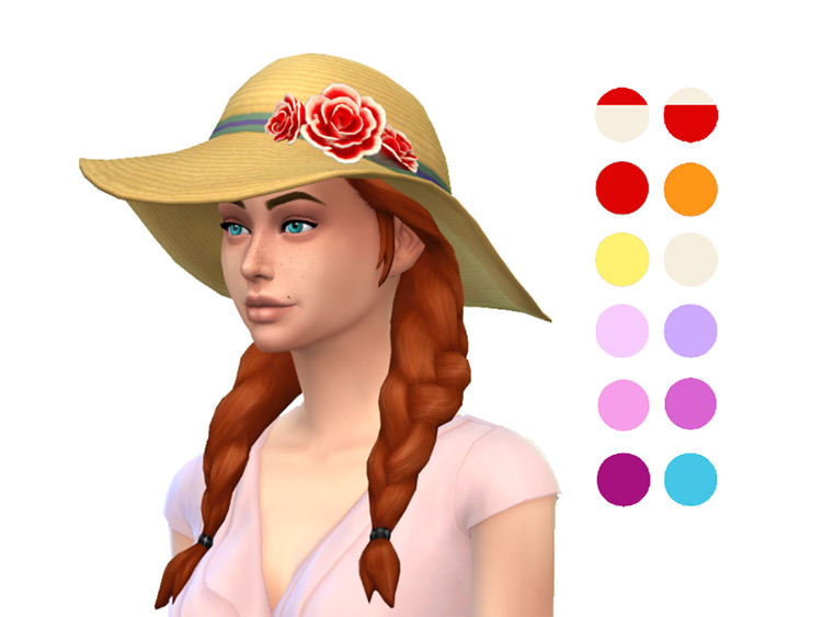 Sunhat with Roses for The Sims 4