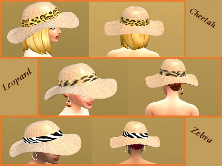Ladies Woven Sunhat w/ Animal Print Hatband / TS4 CC