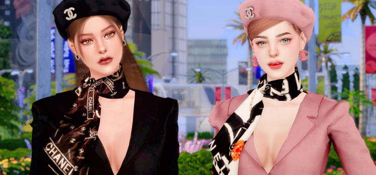 Chanel scarf and suit jacket / Sims 4 CC preview
