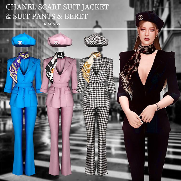 Chanel Scarf Suit, Jacket, Suit Pants & Beret / TS4 CC
