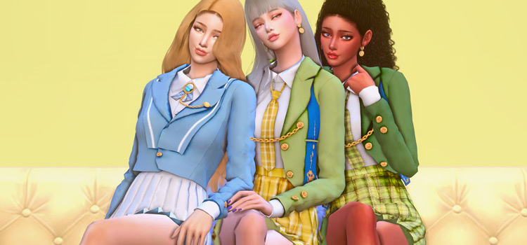 Girls School Uniforms CC Outfits for The Sims 4