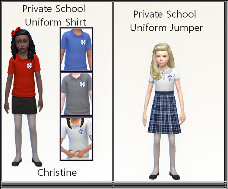 Private School Uniform Shirt + Jumper Sims 4 CC