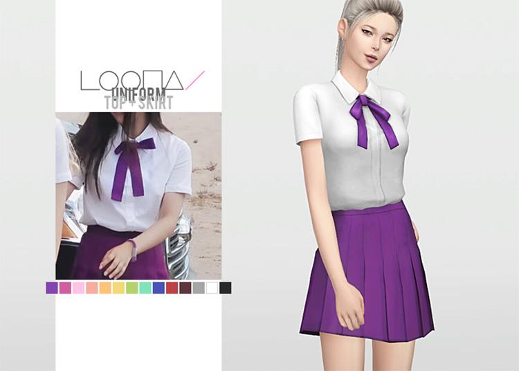 Loona Uniform Top + Skirt Sims 4 CC