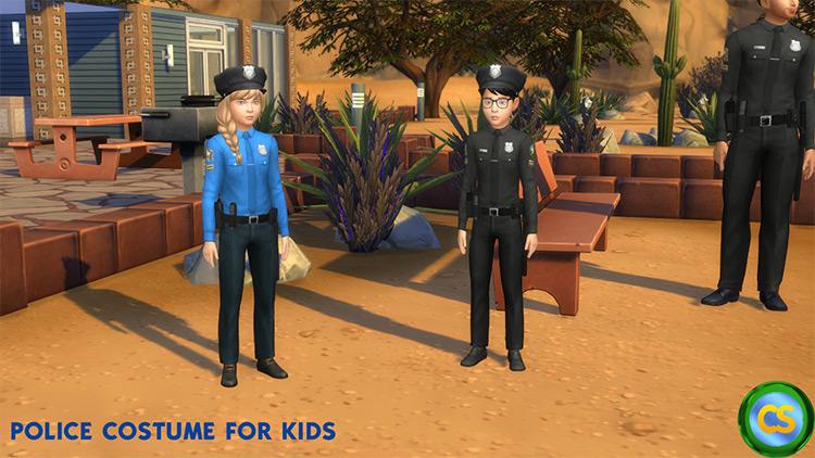 Prison Guard + Sheriff Uniform + Police Costume for Kids / TS4 CC