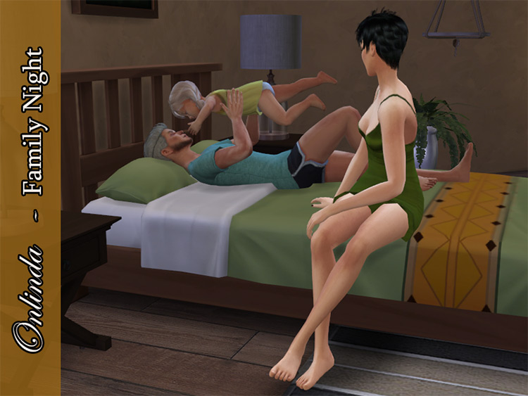 Family Night – Bed PosePack for The Sims 4
