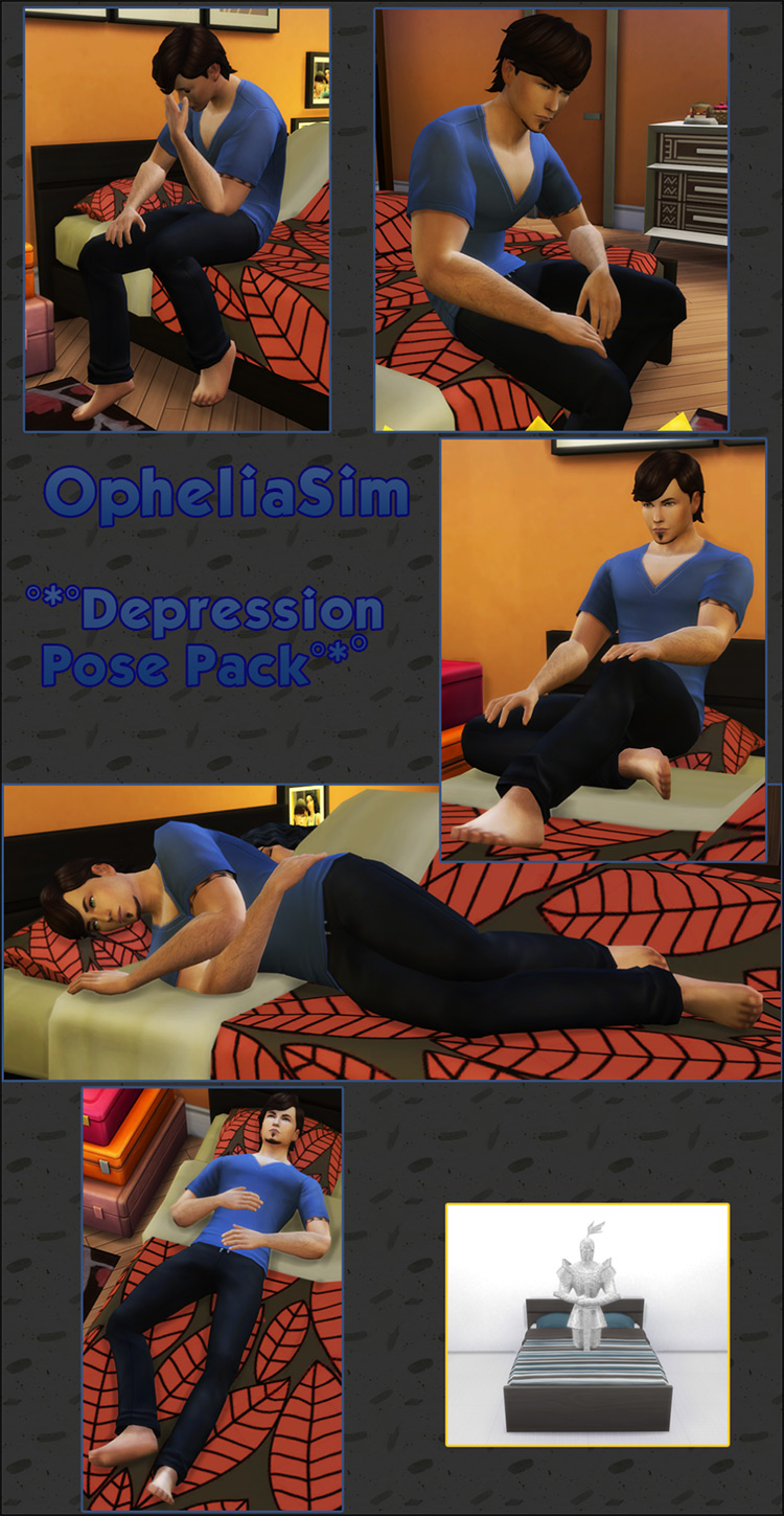 Depression Pose Pack for The Sims 4