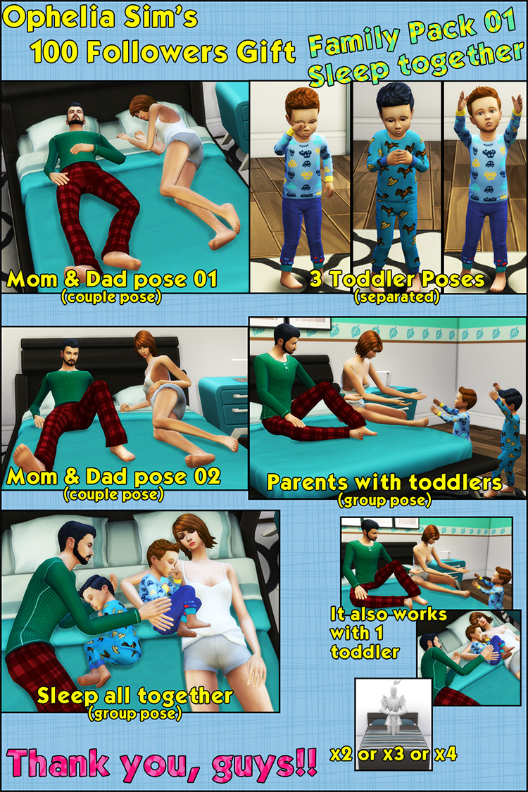 Family Pack Bed Poses / TS4 CC