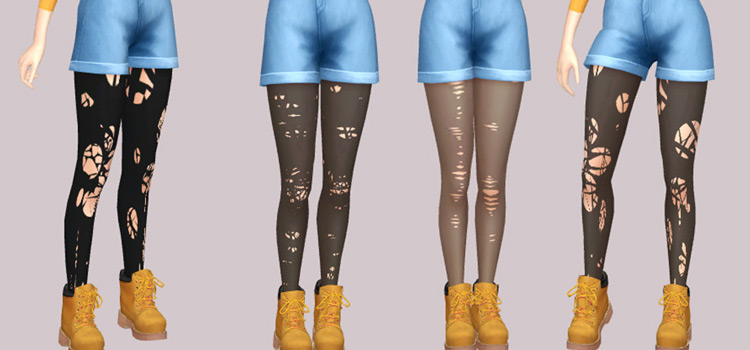 Grunge ripped tights CC for The Sims 4