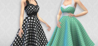 Polka Dot Sarah Dress CC Preview for The Sims 4