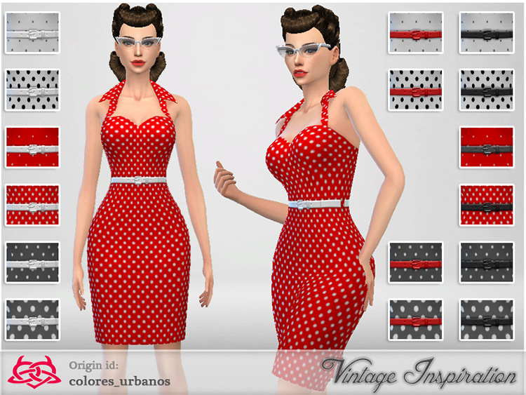 Lunares Pin Up Dress for The Sims 4