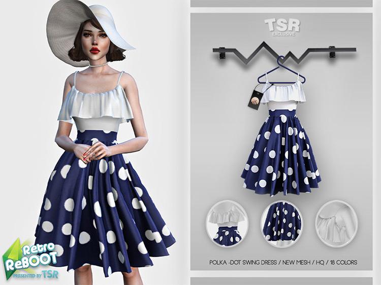 Retro Polka Dot Swing Dress for The Sims 4
