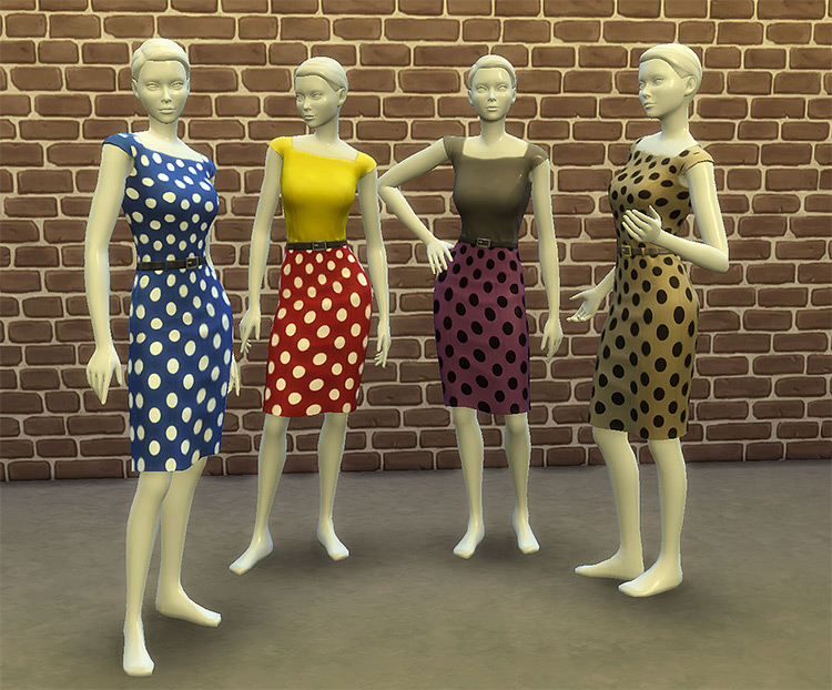 Two-Tone Dress with Polka Dots for The Sims 4