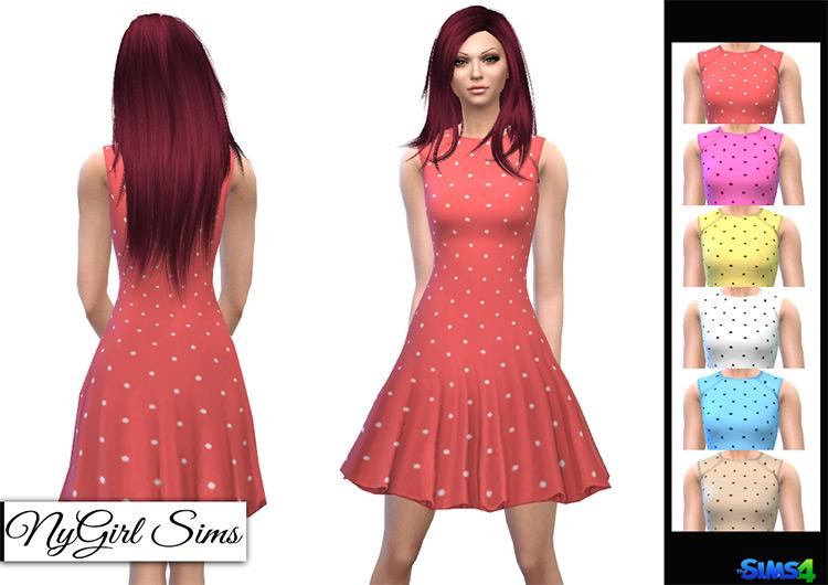 Polka Dot Flare Dress / Sims 4 CC