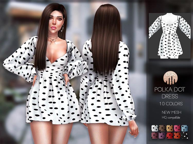 Polka Dot Dress Black & White for The Sims 4