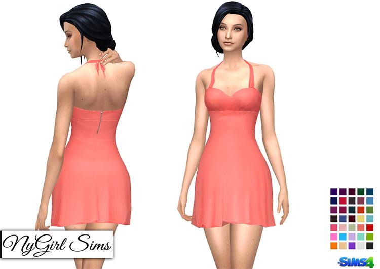 Flared Halter Cocktail Dress / TS4 CC