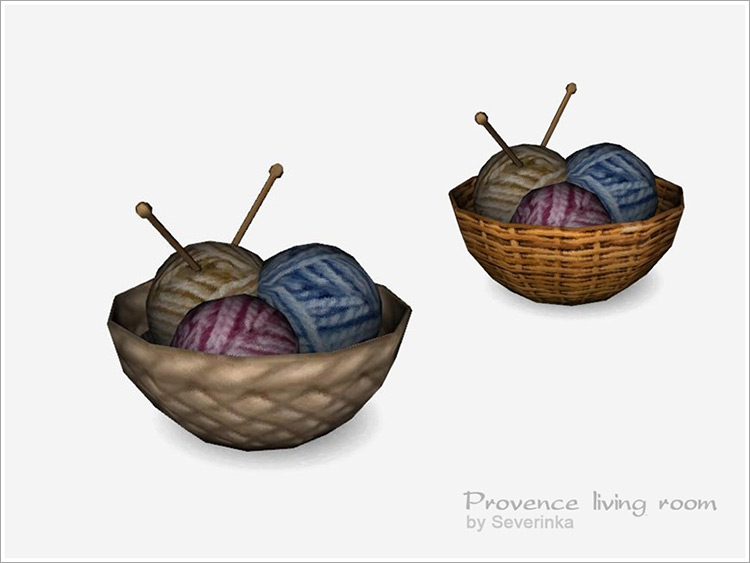 Basket with Knitting for The Sims 4