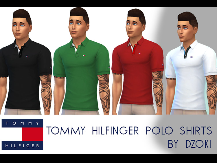 Tommy Hilfiger Polo Shirts v01 for The Sims 4