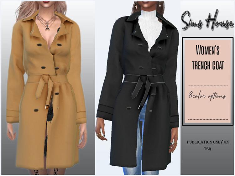 Women's Trench Coat / Sims 4 CC