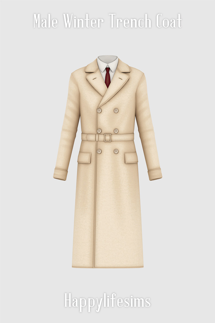 Male Winter Trench Coat for The Sims 4