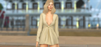 Kylie Wrapped Dress Custom Content for The Sims 4