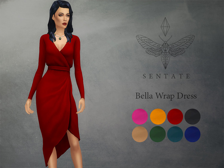 Bella Wrap Dress for The Sims 4