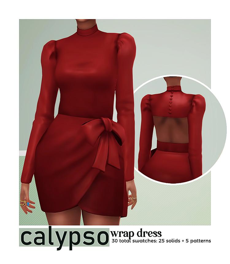 Calypso Wrap Dress for The Sims 4