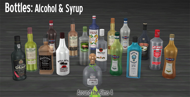 Alcohol and Syrup Bottles Decor for The Sims 4